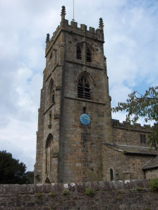 The tower of the church at Bolton by Bowland, said to have been designed by Henry VI.