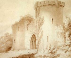 Knockin Castle, Shropshire. Pencil and watercolour. Artist: T.F. Dukes (attrib.). Shrewsbury Museums Service (SHYMS: FA/1991/088/2)