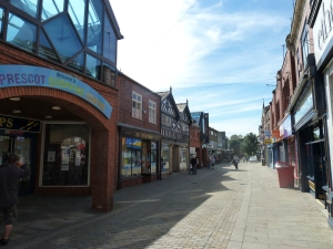 Prescot's main shopping street.