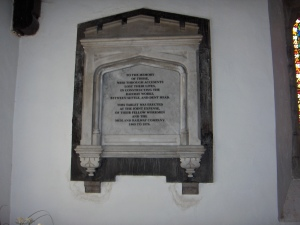 The memorial in the church at Chapel-le-Dale.